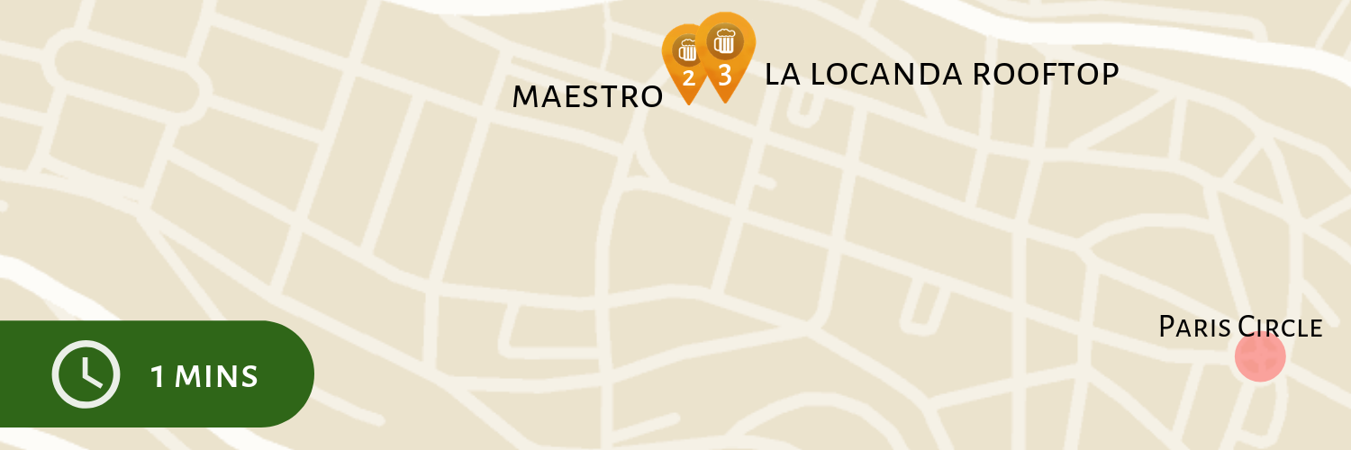 Maestro to La Locanda Rooftop Pub Crawl Map